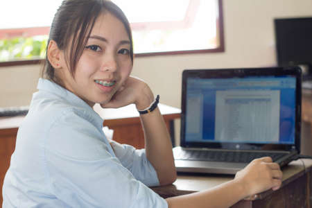 20 24 years: thai Woman blue Shirt working