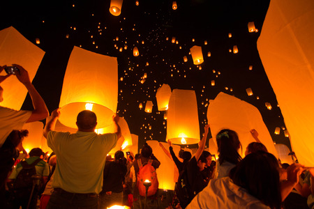 Yi Peng Sky Lantern Loi Krathong Traditional Festival photo