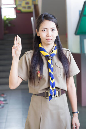 scouts: thai teacher girl scouts Stock Photo