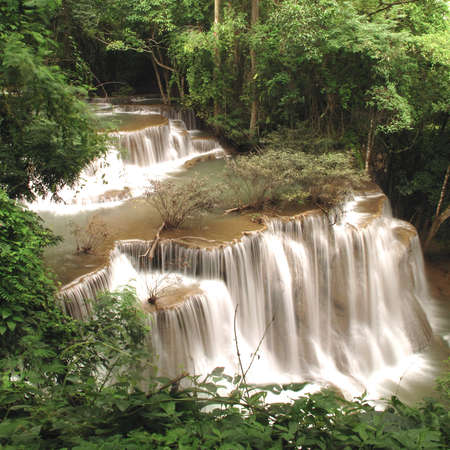 waterfall in deep forest at huay mae ka min of Karnjanaburi in Thailand