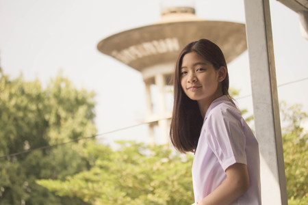 thai student: Portrait of thai student teen beautiful girl happy and relax in school