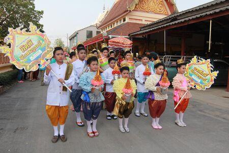 assignation: Thai Culture Buddhism Ordination Ceremony at temple, Thailand. Editorial