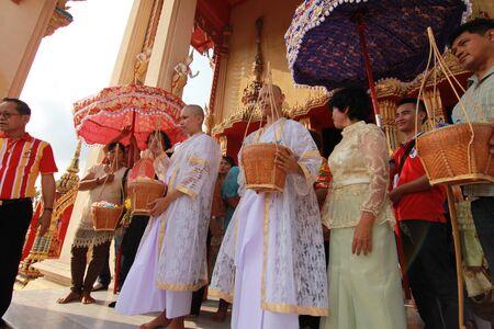 Thai Culture Buddhism Ordination Ceremony at temple, Thailand. Editorial