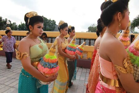 thai culture: Thai Culture Buddhism Ordination Ceremony at temple, Thailand. Editorial