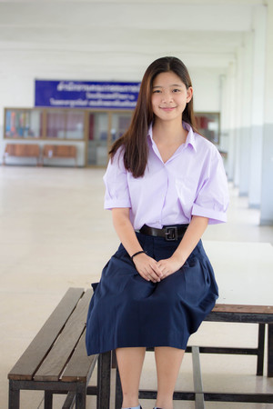 thai student: Portrait of thai student High School beautiful girl relax and smile