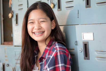 scotch: asia thai teenager Women Scotch T-Shirt relax and smile Stock Photo