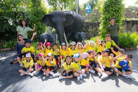 BANGKOK CITY, THAILAND -  JULY 2016: Kindergarten Students visit the zoo, In the jul 15, 2016. Bangkok Thailand.