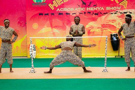 troupe: BANGKOK CITY, THAILAND - JULY 2016: acrobatic kenya show in dusit zoo, In the july 27, 2016. Bangkok Thailand. Editorial