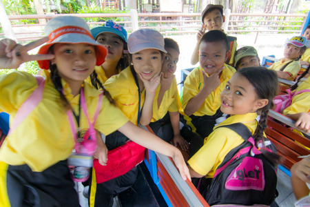 wean: BANGKOK CITY, THAILAND - JULY 2016: primary Students visit the zoo, In the jul 27, 2016. Bangkok Thailand.