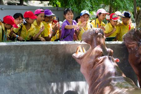 BANGKOK CITY, THAILAND - JULY 2016: primary Students visit the zoo, In the jul 27, 2016. Bangkok Thailand.