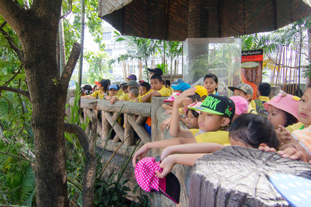 BANGKOK CITY, THAILAND - JULY 2016: primary Students visit the zoo, In the jul 27, 2016. Bangkok Thailand.