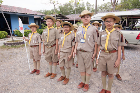 boy 12 year old: Student 11-12 years old, Scout Assembly, TeePangKorn Scout Camp in Samut Sakhon Thailand.