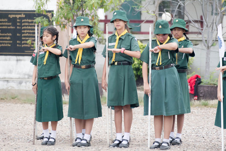 Student 11-12 years old, Scout Assembly, TeePangKorn Scout Camp in Samut Sakhon Thailand.