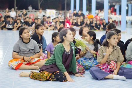 Student 11-12 years old, Scout activities, dance performances around the fire., TeePangKorn Scout Camp in Samut Sakhon Thailand.
