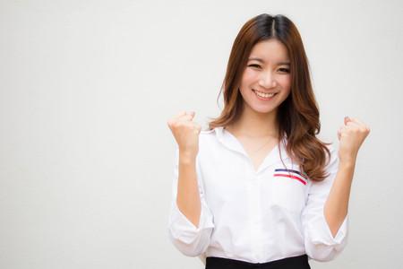 Portrait de chemise blanche thai adulte femme blanche OK Banque d'images