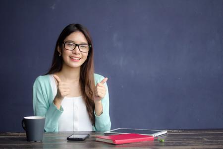 thai china adult office girl glasses give excellent Reklamní fotografie