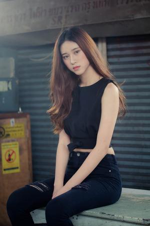 asia thai teen black dress on street fashion 写真素材