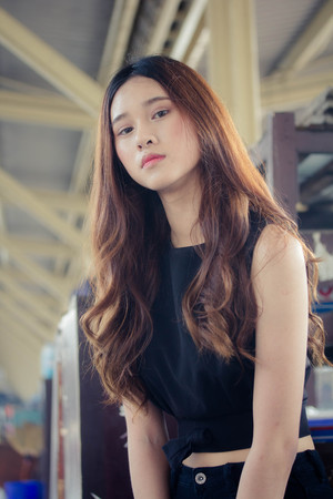 asia thai teen black dress on street fashion