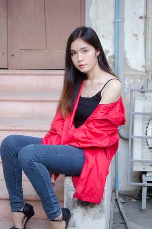 asia thai teen red coat on street fashion