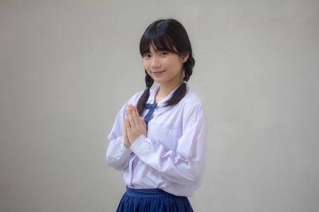thai high school student uniform beautiful girl thai Pay respect Banco de Imagens
