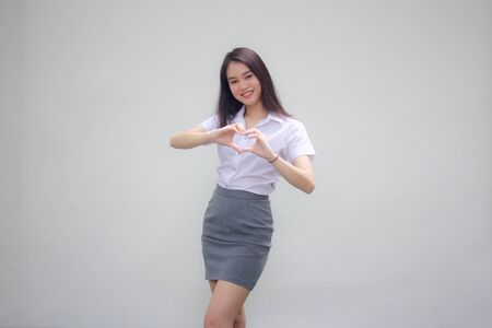 thai china adult office girl give heart Imagens