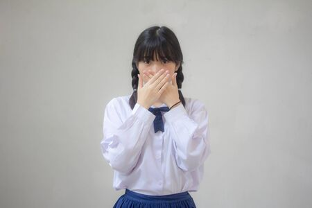 Portrait of thai high school student uniform beautiful girl not speak Reklamní fotografie - 132935279