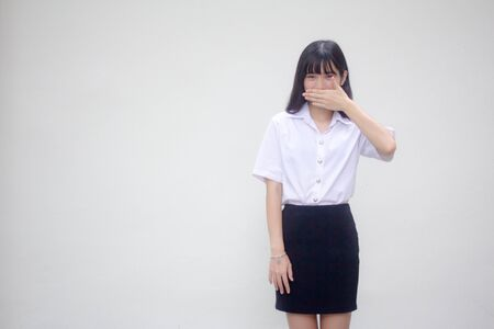 thai adult student university uniform beautiful girl not speak