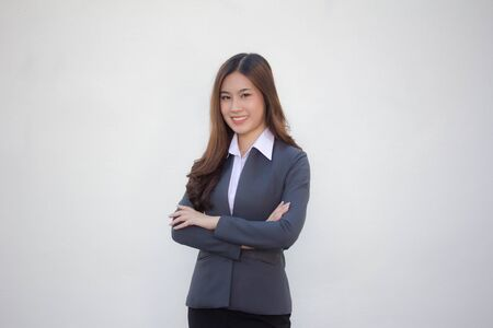 thai adult office girl white shirt relax and smile