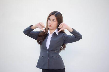 portrait of thai adult office girl do not like Stock Photo