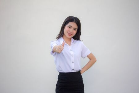 thai adult student university uniform beautiful girl like