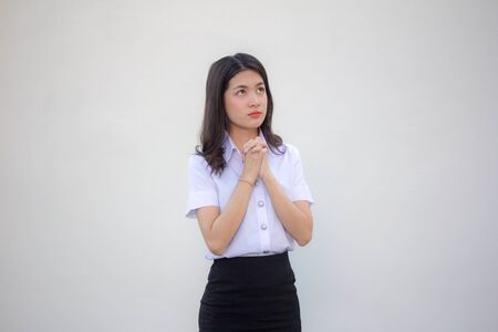 thai adult student university uniform beautiful girl pray