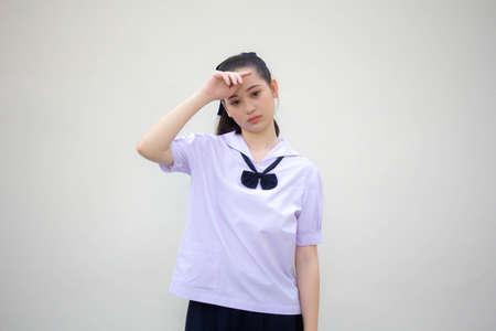 asia thai Junior high school student uniform beautiful girl Think Zdjęcie Seryjne