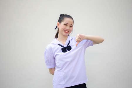 asia thai Junior high school student uniform beautiful girl do not like
