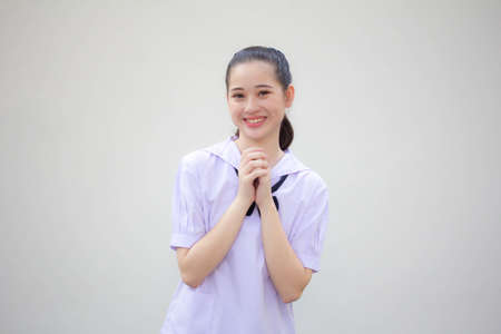 asia thai Junior high school student uniform beautiful girl pray