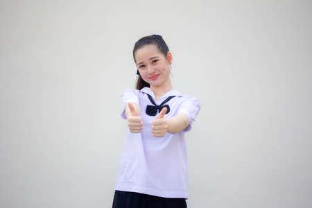 asia thai Junior high school student uniform beautiful girl excellent Zdjęcie Seryjne