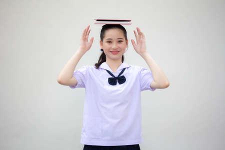 asia thai Junior high school student uniform beautiful girl read a book