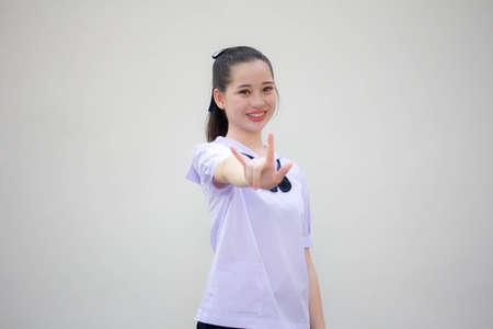 asia thai Junior high school student uniform beautiful girl love you
