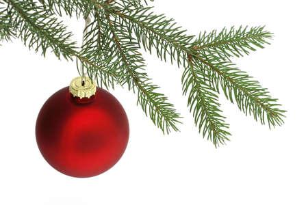 matte: Photo of matte red Christmas ball hanging Stock Photo