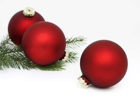 pine three: Photo of three matte red Christmas balls and pine Stock Photo