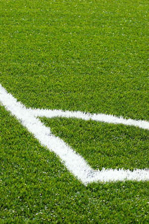 pitch: Corner on footballsoccer pitch with green artificial grass Stock Photo