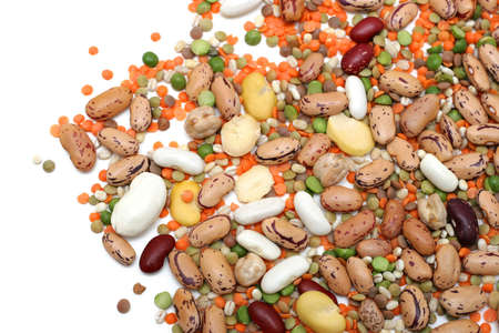 Mixed legumes: peas, lentils, beans and chickpeas photo