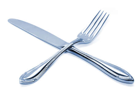High key photo of isolated silver fork and knife photo