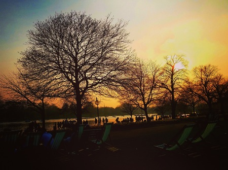 hyde: Sunset in Hyde Park, London Stock Photo