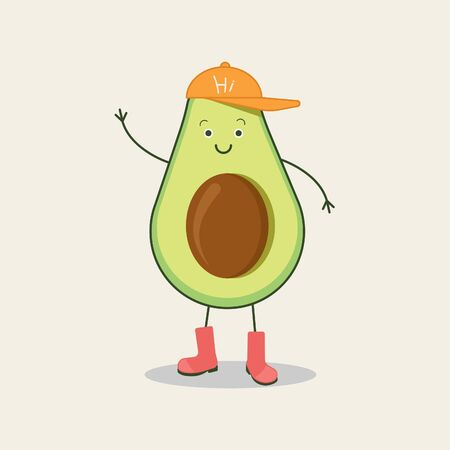 Stylish green avocado welcomes. Funny vector cartoon fruit character isolated on a background.