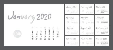 Calendar design for 2020 in minimal simple style. Set of 12 calendar pages vector design print template. Ilustração