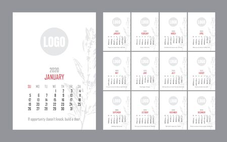 Calendar design for 2020 in minimal simple floral style. Set of 12 calendar pages vector design print template.