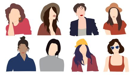 Set of fashionable women in different stylish clothes isolated on white background Illusztráció