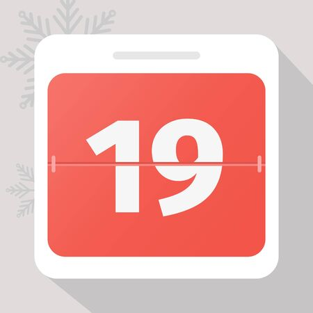 Calendar icon. Calendar Date with snowflakes. Number 19. Time management.
