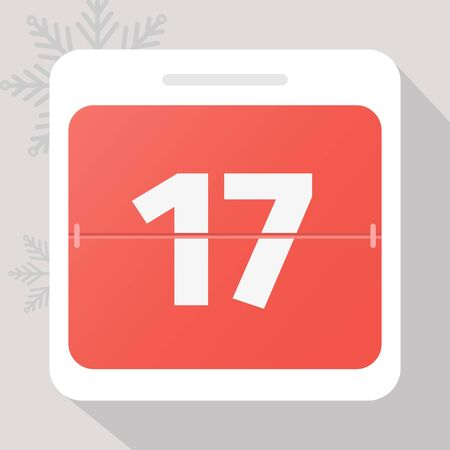 Calendar icon. Calendar Date with snowflakes. Number 17. Time management.