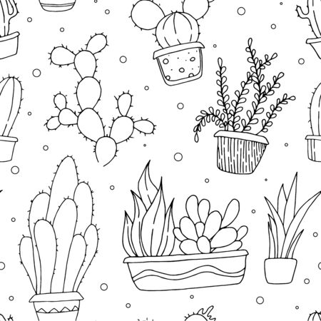 Hand drawn cactus in pots. Black and white background Stock fotó - 137890466